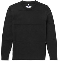 Oamc Slim Fit Textured Cotton Blend Sweater Black