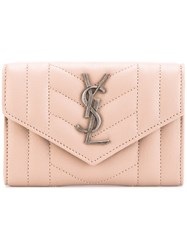 Saint Laurent 'Monogram' Envelope Purse Women Leather One Size Pink Purple