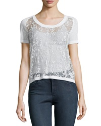 Philosophy Sheer High Low Sweater Knit Top White Star