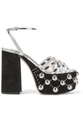 Miu Miu Metallic Leather And Studded Suede Platform Sandals Black
