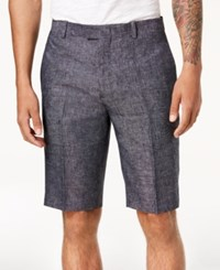 Inc International Concepts I.N.C. Textured Linen 10 Shorts Navy Combo
