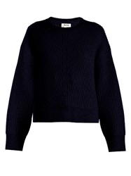 Acne Studios Java Crew Neck Ribbed Knit Sweater Navy