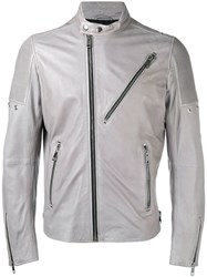 Diesel Leather Jacket Grey