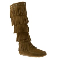 Women's Minnetonka '5 Layer Fringe' Boot Dusty Brown
