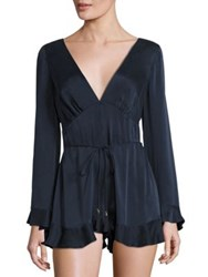 Zimmermann Sueded Silk Ruffled Romper French Navy