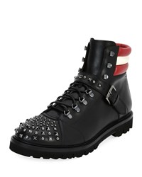 Bally Champions Studded Leather Hiking Boot Black