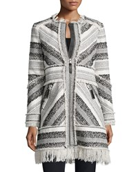 Rebecca Taylor Artisan Chevron Knit Fringe Trim Coat Black White