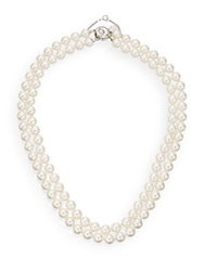 Majorica 8Mm White Pearl And Sterling Silver Double Strand Necklace