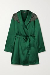 I.D. Sarrieri Embroidered Tulle Trimmed Silk Blend Satin Robe Emerald