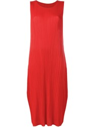 Issey Miyake Pleats Please By Pleated Shift Dress Red