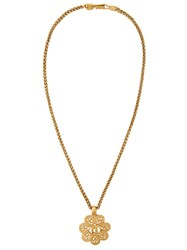 Chanel Vintage Cc Logo Pedant Necklace Metallic