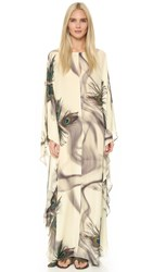 Tamara Mellon Long Caftan Cream Peacock