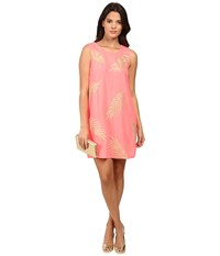 Lilly Pulitzer Elaine Shift Dress Guava Melon Gold Palm Embroidery Women's Dress Pink