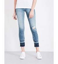 Calvin Klein Distressed Skinny Mid Rise Jeans Oxygen Blue
