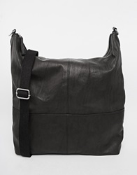 Asos Slouchy Satchel Tote In Black Leather