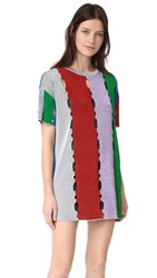 M Missoni Metallic Stripe T Shirt Dress Red