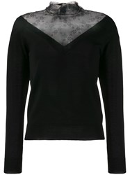 Red Valentino Lace Panel V Neck Jumper 60