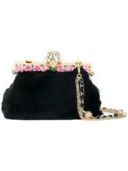 Dolce And Gabbana Rose Trimmed Clutch Black