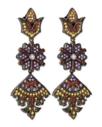 Long Flower Kite Earrings With Enamel Orange Sapphire And Amethyst Mcl By Matthew Campbell Laurenza