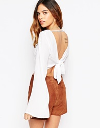Asos Kimono Sleeve Crop Top With Open Back And Tie Cream