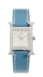 Wgaca What Goes Around Comes Around Hermes H Hour Pm Watch Blue Silver