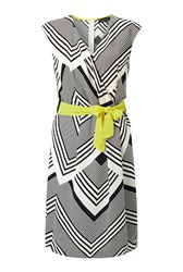James Lakeland Chevron Stripe Dress White