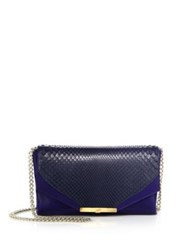 Khirma New York Leather And Python Envelope Clutch Royal Navy