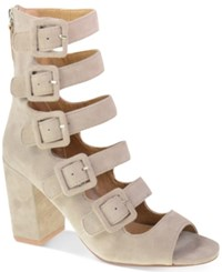 Chinese Laundry Twilight Buckled Block Heel Sandals Women's Shoes Taupe