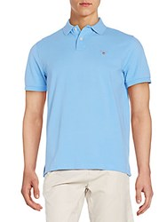 Gant Regular Fit Cotton Polo Shirt Azzurro