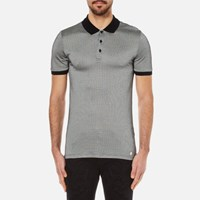 Versace Collection Men's Printed Polo Shirt With Contrast Collar Black