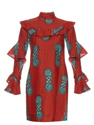 Stella Jean Multicoloured And Ruffled Cotton Dress Red Multi