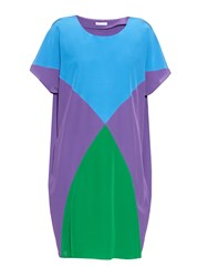 Tomas Maier Colour Block Short Sleeved Silk Dress