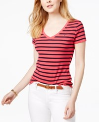 Tommy Hilfiger Cotton Striped Flag T Shirt Only At Macy's Azalea Navy