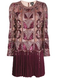 Just Cavalli Sequinned Fringe Hem Shift Dress Red