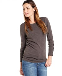 Jm Collection Crew Neck Solid Button Sleeve Sweater Charcoal Heather
