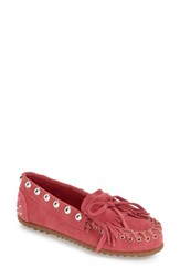 Women's Rebecca Minkoffxminnetonka Studded Moccasin Pink Suede