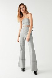 Urban Outfitters C Meo Collective High Rise Checkered Flare Pant Grey