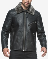 Marc New York Men's Kane Faux Leather Bomber With Faux Fur Collar Black