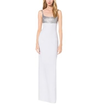 Michael Kors Sequined Crepe Sable Tank Gown Optic White