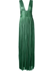 Maria Lucia Hohan Deep V Neck Long Dress Green