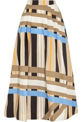 Msgm Pleated Printed Cotton Poplin Maxi Skirt Beige