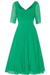 Mikael Aghal Pleated Georgette Dress Green