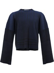 Y Project Ribbed Flare Sleeve Jumper Blue