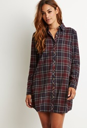 Forever 21 Plaid Flannel Shirt Dress Grey Red