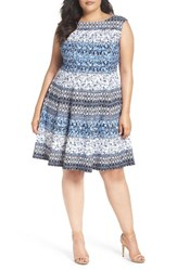 Gabby Skye Plus Size Women's Paisley Stripe Fit And Flare Dress