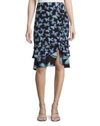 Nanette Lepore Farfalla Tiered Silk Butterfly Skirt Black Black Pattern