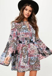Missguided White Paisley Print Flared Sleeve Swing Dress