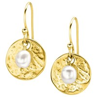 Dower And Hall Sterling Silver Pearlicious Round Drop Earrings Gold White