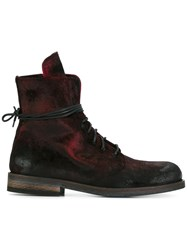 Ann Demeulemeester Blanche Distressed Lace Up Boots Red