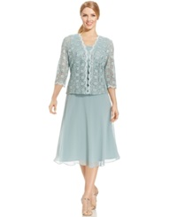 R And M Richards Sequined Lace Chiffon Dress And Jacket Sage